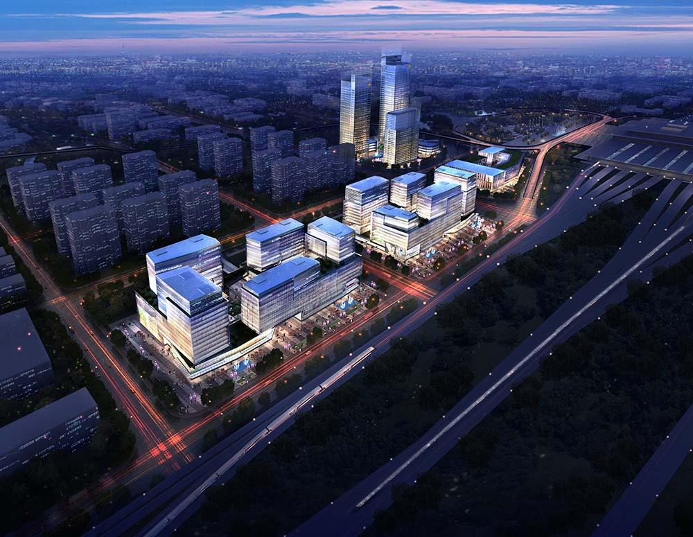 南京城际空间站(原绿地之窗)鸟瞰图